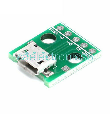 2pcs MICRO USB to DIP Adapter 5pin female connector B type pcb converter NEW CA