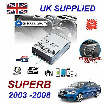 For SKODA SUPERB MP3 SD USB CD AUX Input Audio Digital CD Changer Module 8 pin