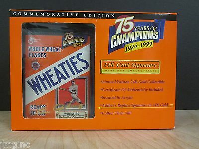 Wheaties 75 years of Champions 24K Gold Signature Mini Box -  Lou Gehrig