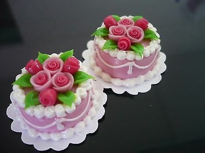 2 White Pink Round Cake Top Pink Rose Dollhouse Miniatures