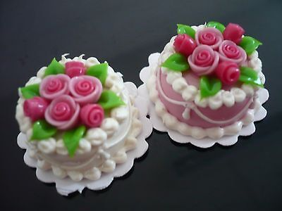 2 Pink Round Cake Top  Pink Rose Dollhouse Miniatures
