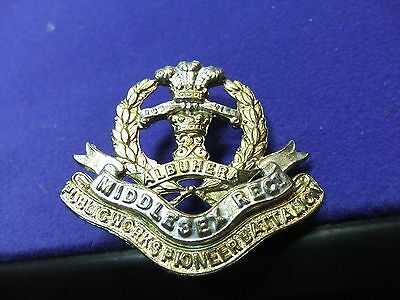vtg badge Middlesex reg public works pioneer batt albuhera army cast brass