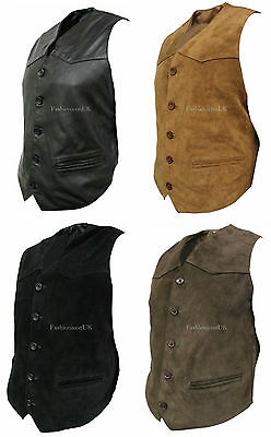 Men's Vest Fashion Real Leather Waistcoat Black Brown Tan Party Suede Designer