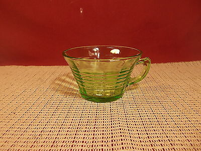 """Vintage Anchor Hocking Depression Glass Circle Green Cup 2 1/4"""" T x 3 3/4"""" W"""