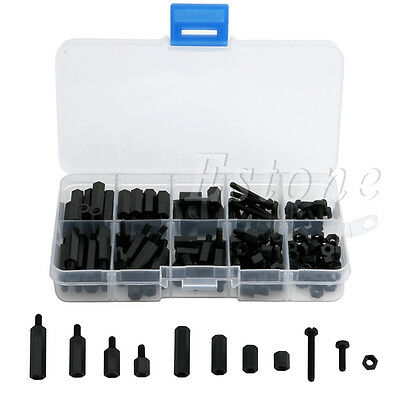 150Pcs M3 6-20mm Hex Spacers Nylon Screw Nut Kit Washer Assortment Standoff BK