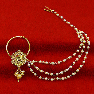 Ethnic Gold Plated Designer Bridal Nath Hoop Traditional Jewelry Nose Chain Ring