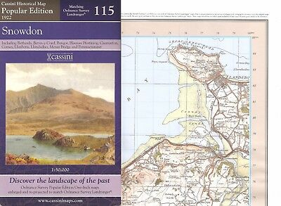 OLD WELSH MAP OF SNOWDON SNOWDONIA ERYRI 1922 = O/S MAP No 115 bargain NEW