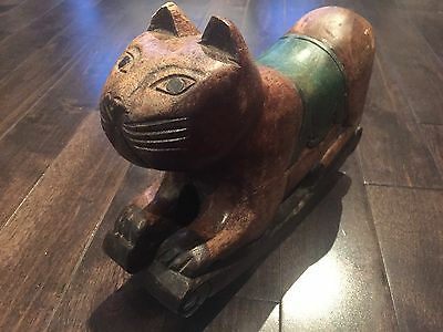 Vintage Hand Carved Solid Wood Cat Door Stop Retro Decor Rustic Decor Farm Kitty
