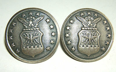 LOT DE 2 BOUTONS US AIR FORCE  -  29 mm - Fabt SCOVILL MF'G Co - Fonds plats