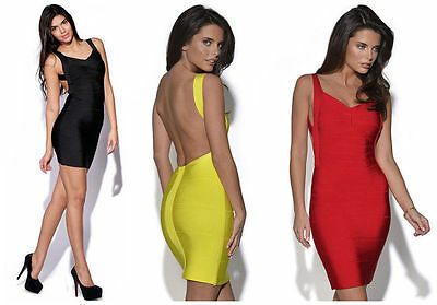 Mini Dress Bodycon Ladies Sexy Backless Evening Party Clubwear Bandage 10 12 14