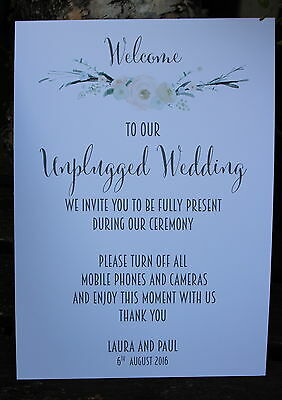 UNPLUGGED WEDDDING-PERSONALISED A4 Sign-Wedding-Calligraphy-Unique Design