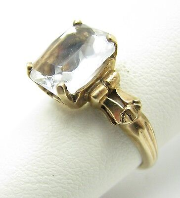 Lovely Antique Art Deco 10k Yellow Gold Clear Glass Stone Ring Size 5.75