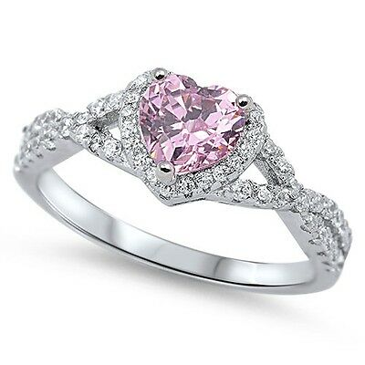 .925 Sterling Silver Heart Pink Clear CZ Fashion Promise Ring Size 4-12 NEW