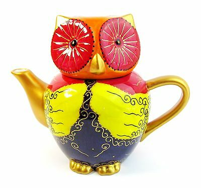 Owl Teapot - Ceramic, Hand Painted - Brightly Coloured - Boxed