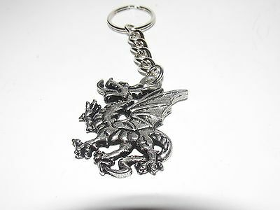 Vintage Pewter Mythical Dragon Key Chain - Free Us Shipping!