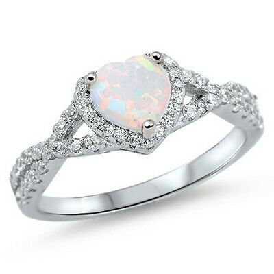 .925 Sterling Silver Heart White Lab Opal CZ Fashion Promise Ring Size 4-12 NEW