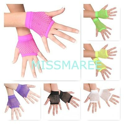 Fishnet short gloves 80s costume dance neon pink green purple black yellow white