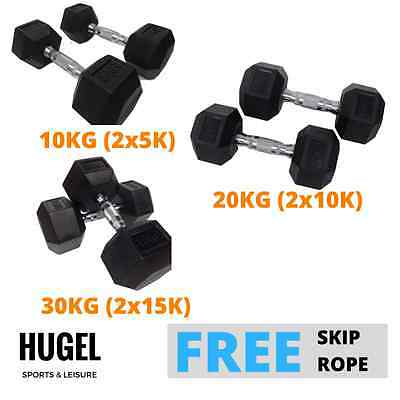 Hex Rubber Dumbbell Set 10KG 20KG 30KG Weight Strength Fitness Gym Training