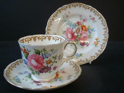 Crown Staffordshire China Englands Bouquet Trio Tea Cup, Saucer And Side Plate
