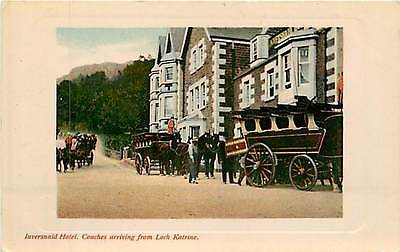 UK, Scotland, Coaches arriving fr Loch Katrine, Inversnaid Hotel Postcard Early
