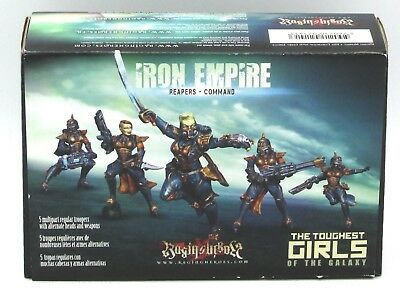 Raging Heroes 21413 Iron Empire Reapers Command (5) Miniatures Female Infantry
