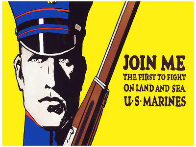 Join Me 1914 WWI Recruiting Poster 14x24 US Marines On Land and Sea