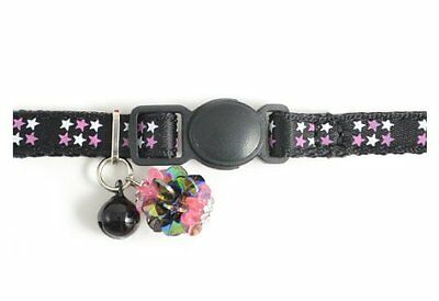 Stars Kitten Cat Coll W/ Jewel & Safey Buckle Black Pet Supplies Specially Desi