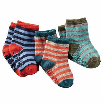 New Carter's 3 Pack Socks 3 6 9 12m NWT 3 Pairs Stripes Turquoise Blue Red