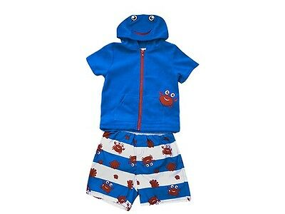 Wippette Blue Crab Swimsuit Set - Swim Trunks & Hooded Coverup Size 2T Adorable!