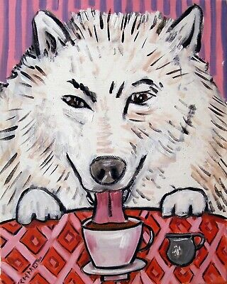 SAMOYED dog  13x19 poster gift modern folk art  coffee GLOSSY PRINT