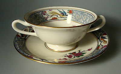 LENOX MING Birds - P16 BOUILLON/SMALL CREAM SOUP BOWL & STAND -  BLACK BACKSTAMP