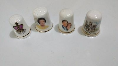 Vintage Bone China English Royalty Thimbles Queen Elizabeth,Prince Charles,Diana