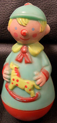 Vintage Rolly Poly Boy Holding Hobby Horse, Rattle, Stahlwood Toy Company
