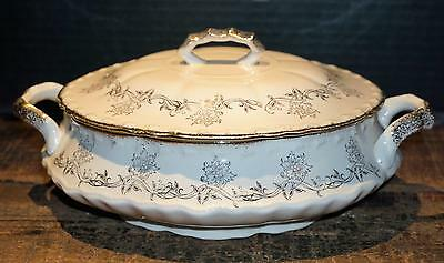 Antique Covered Vegetable Dish Tureen Serving Bowl Ivory Gold Flowers + Scrolls