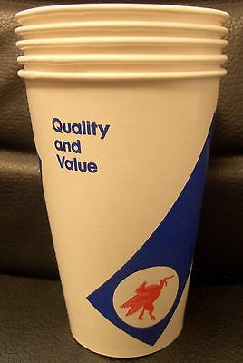 5 Unused Vintage Mobil Paper Cups, Oli & Gasoline Advertising Collectable