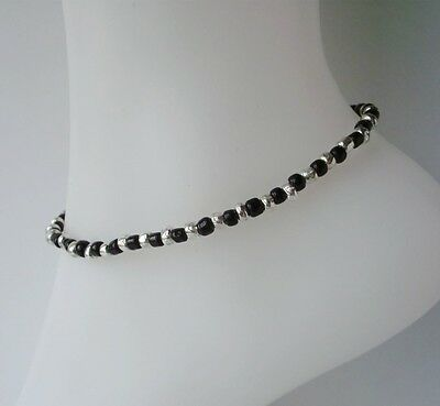 Black & Silver Glass Beaded Stretch Anklet Ankle Bracelet Handmade Cute Sexy