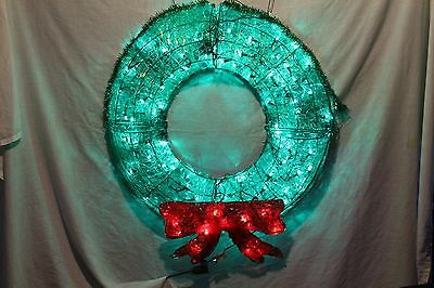 Faux Laced Glass Electric Christmas Wreath With Red Bow Metal Plastic  Green