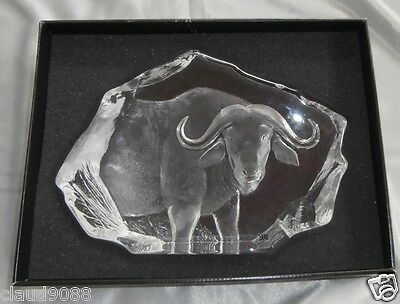 "Mats Jonasson Crystal-Sweden""limited Edition"" 1999 African Buffalo 124/975 33120"