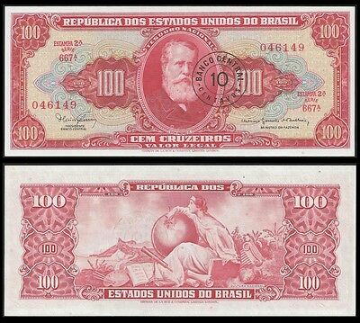 Brazil 10 Cents on 100 CRUZEIROS Sign 15 P 185a UNC