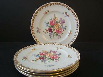 """Crown Staffordshire China Englands Bouquet 6 X 9"""" Lunch / Salad Plates"""