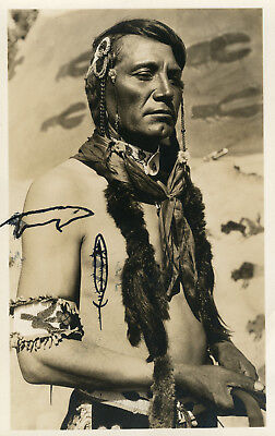Old Artistic American Indian Native Pictograph Weasel Signed Rppc Rare Photo
