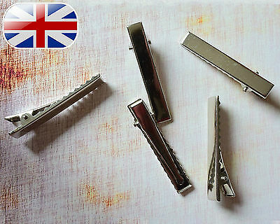 Alligator Hair clips Silver Or Bronze Metal 45mm Length For Bows ~1st Class Post
