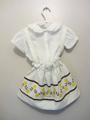 child's vintage skirt & top white yellow brown 40's print WW2 age 2