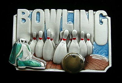 Wild Bowling Belt Buckle Buckles Solid Pewter New!