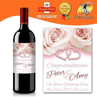 Personalised Wedding Pink Hearts Wine Bottle Label Gift