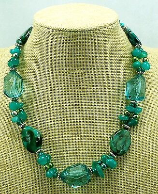 Vintage Estate Signed Avon Teal Green Gemstone & Acrylic Necklace Faux Crystal