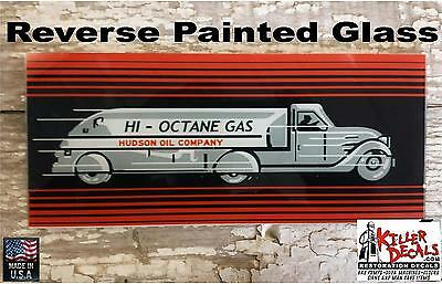 "Hudson Gasoline Ad Glass 5"" X 11.75"" Erie Gas Pumps"