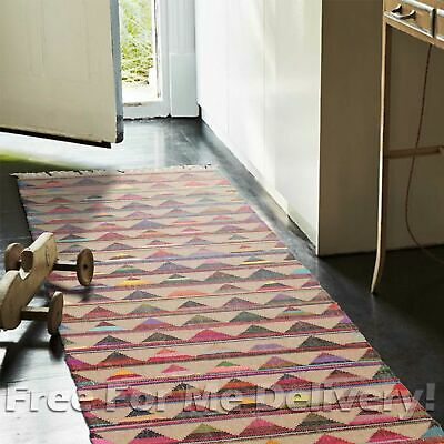 Uyuni Natural Jute Cotton Colourful Floor Rug Runner 80x400cm **FREE DELIVERY**