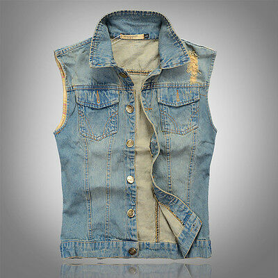 Blue Mens Classics Denim Vest Waistcoat Sleeveless Casual Tops With Shirt Collar