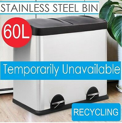 Stainless Steel Pedal Rubbish Bin 2 Compartments Kitchen Recycle Waste Garbage